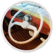 Chris Craft Dreaming Round Beach Towel
