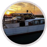 Chris Craft In The Evening  Round Beach Towel