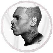 Chris Brown Drawing By Sofia Furniel Round Beach Towel