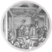 Christ Among The Doctors In The Temple 1503 Round Beach Towel