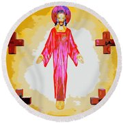 Christ And Crosses Round Beach Towel