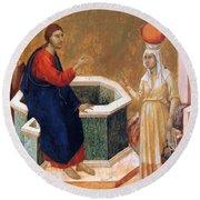 Christ And The Samaritan Woman Fragment 1311 Round Beach Towel