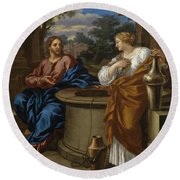 Christ And The Woman Of Samaria Round Beach Towel