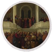 Christ And The Woman Taken In Adultery Round Beach Towel