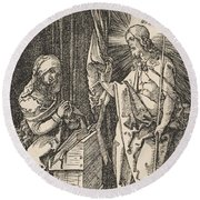 Christ Appearing To His Mother, From The Small Passion Round Beach Towel