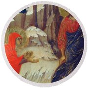 Christ Appearing To Mary Magdalene Fragment 1311 Round Beach Towel