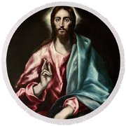 Christ As Saviour Round Beach Towel
