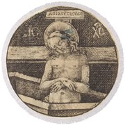 Christ As The Man Of Sorrows Round Beach Towel