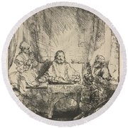 Christ At Emmaus: The Larger Plate Round Beach Towel