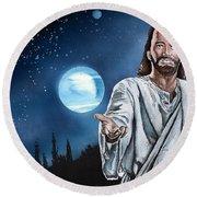 Christ At Night Round Beach Towel