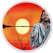 Christ At Sunrise Round Beach Towel