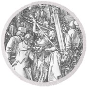 Christ Bearing The Cross 1509 Round Beach Towel