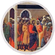 Christ Before Caiaphas 1311 Round Beach Towel