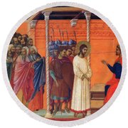 Christ Before Pilate 1311 Round Beach Towel