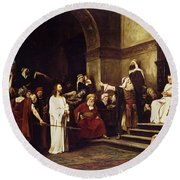 Christ Before Pilate Round Beach Towel by Mihaly Munkacsy