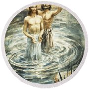 Christ Being Baptised Round Beach Towel