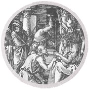 Christ Being Crowned With Thorns 1510 Round Beach Towel