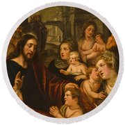 Christ Blessing The Children Round Beach Towel