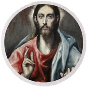Christ Blessing, The Saviour Of The World Round Beach Towel