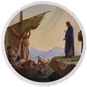Christ Calling The Apostles James And John Round Beach Towel
