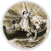 Christ Calming The Storm Round Beach Towel