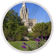 Christ Church Cathedral Oxford University Uk Round Beach Towel