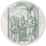 Christ Consigning The Keys To Saint Peter Round Beach Towel