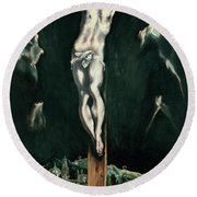 Christ Crucified With Toledo In The Background Round Beach Towel