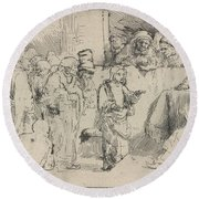 Christ Disputing With The Doctors: A Sketch Round Beach Towel
