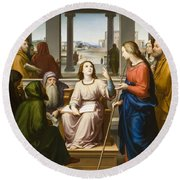 Christ Disputing With The Doctors In The Temple Round Beach Towel