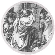 Christ Driving The Merchants From The Temple 1511 Round Beach Towel
