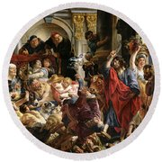 Christ Driving The Merchants From The Temple Round Beach Towel