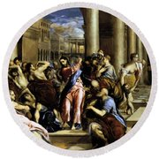 Christ Driving The Traders From The Temple 1576 Round Beach Towel