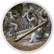 Christ Falls Beneath The Cross Round Beach Towel by Tissot