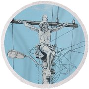 Christ From Mexico Round Beach Towel