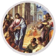 Christ Healing The Blind 1578 Round Beach Towel