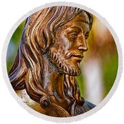 Christ In Bronze Round Beach Towel by Christopher Holmes
