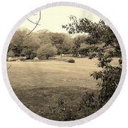 Christ In The Field Sepia Round Beach Towel