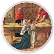 Christ In The House Of His Parents Round Beach Towel
