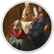Christ In The House Of Martha And Mary Round Beach Towel