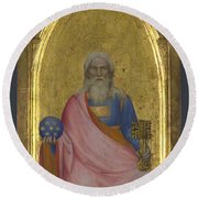 Christ Of The Apocalypse   Central Pinnacle Panel Round Beach Towel