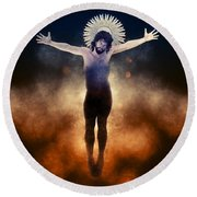 Christ Of The Cosmos Round Beach Towel
