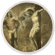 Christ On The Cross And The Good Thief Round Beach Towel