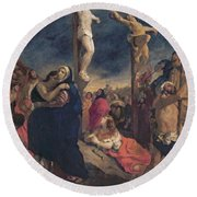 Christ On The Cross Round Beach Towel by Delacroix