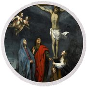 Christ On The Cross With Saint John And Mary Magdalene Round Beach Towel