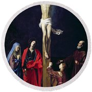 Christ On The Cross With The Virgin Mary Magdalene St John And St Francis Of Paola Round Beach Towel by Nicolas Tournier