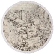 Christ On The Mount Of Olives 1521 Round Beach Towel