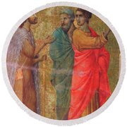 Christ On The Road To Emmaus Fragment 1311 Round Beach Towel