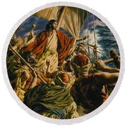 Christ On The Sea Of Galilee Round Beach Towel by Jack Hayes