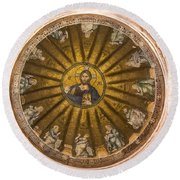 Christ Pantokrator Round Beach Towel